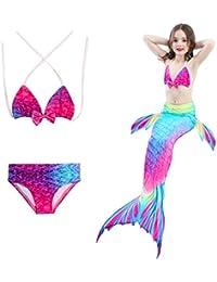 HHD 3pezzi définit Costume da bagno Ragazza Coda Di Sirena Mermaid Bikin Costumi da bagno Set, Coloré1, 110