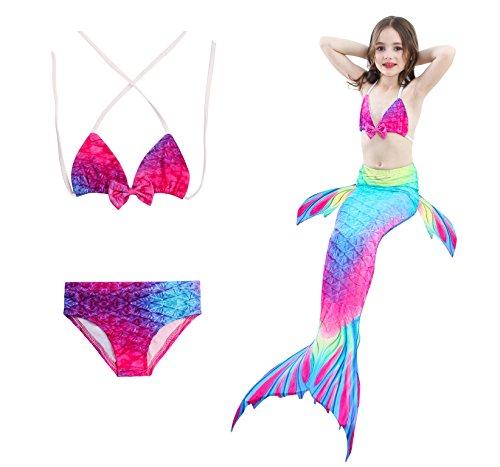 HHD 3Piezas définit Traje de baño niña Cola de Sirena Mermaid Bikin Maillots de baño Conjuntos, Coloré1, 120