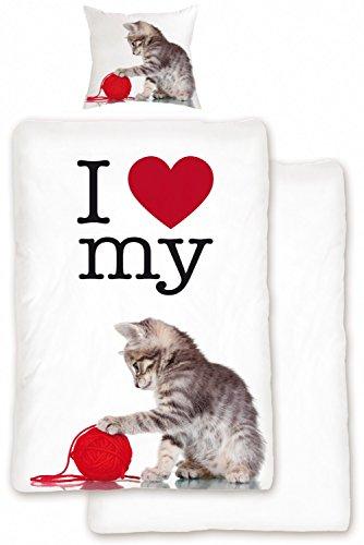 Bettwäsche Set Love Cat Rot Weiß 2tlg 135×200 cm 100% Baumwolle Wendeoptik Katzenmotiv Tiermotiv