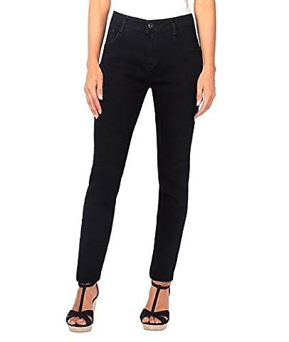 5326-BLK-12: Jeans Taille Haute (40,Noir)