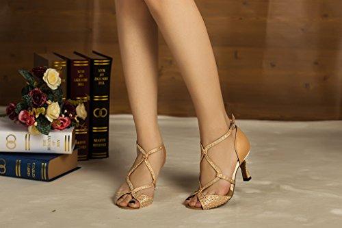 Minitoo chaudes pour femme en Satin pour mariage fête Sandales Cha Cha Latin Chaussures de danse Beige - beige