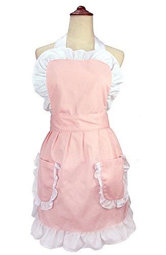 lilments Damen Rüsche Outline Retro Schürze Küche Kuchen Backen Kochen Cleaning Maid Kostüm Mit Taschen ()