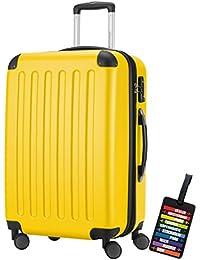 Hauptstadtkoffer® Bagaglio a mano (82 litri) con un lucchetto TSA Seria SPREE (Colore Giallo con 1 ciondolo per la valigia)