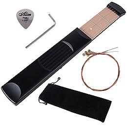 Tragbar Taschen Gitarre Übung Gerät inkl. Tragetasche + Inbusschlüssel + pick + Ersatzsaiten, Pocketstrings 6 Schnur 6 Bünde Pocket Guitar Praxis Werkzeug für Akkord Trainer Saiten tool