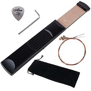 (4pcs) 6 Cordes 6 Frettes Portable Guitare de Poche Acoustique, pocket guitare, Outil de Pratique Guitare + 1 Médiators + 1 Levier pour Débutant