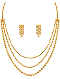 Valentine Gifts : Zeneme Jewellery For Less One Gram Gold Plated Multi Strands Round Gold Bead Necklace With Earrings...