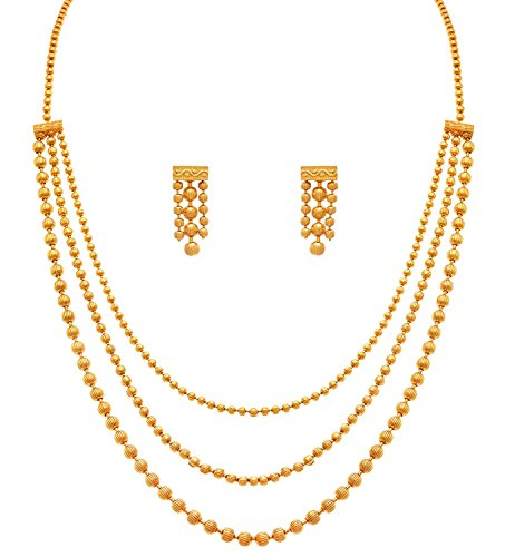 Valentine Gifts : Zeneme Jewellery For Less One Gram Gold Plated Multi Strands Round Gold Bead Necklace With Earrings Set For Women & Girls  available at amazon for Rs.299