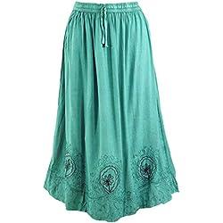 GURU-SHOP, Falda Hippie Boho Bordada, Falda Maxi India Aqua - Diseño 8, Verde, Sintético, Tamaño:40, Faldas Largas