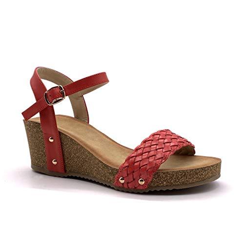 Angkorly - Damen Schuhe Sandalen Mule - Plateauschuhe - praktisch handlich - Bequeme - Geflochten - Nieten-Besetzt - Kork Keilabsatz high Heel 6 cm - Rot FD-42 T 41 Kork-peep-toe-heels