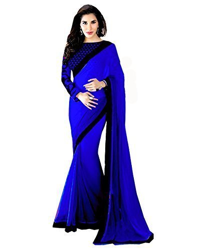 Clickedia Women & Girls Heavy Georgette Embroidered Blue Black Saree with matching blouse pc  available at amazon for Rs.399