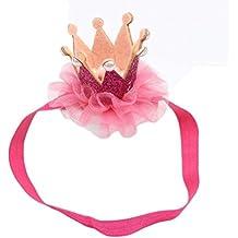 Koly Niñas Diadema de corona, princesa Venda, Accesorios para cabello (Rosa Caliente)