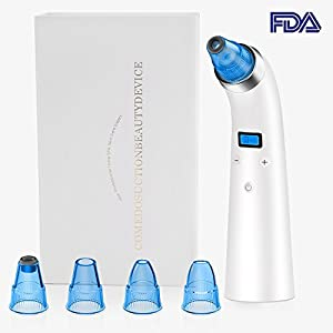 Blackhead Remover Tool Kit, MASCARRY Rechargeable Electric Facial Pore Blackhead Exfoliate Dead Skin Vacuum Suction Remover, LED Display Microdermabrasion Machine for Comedone Acne Treatments-Unisex
