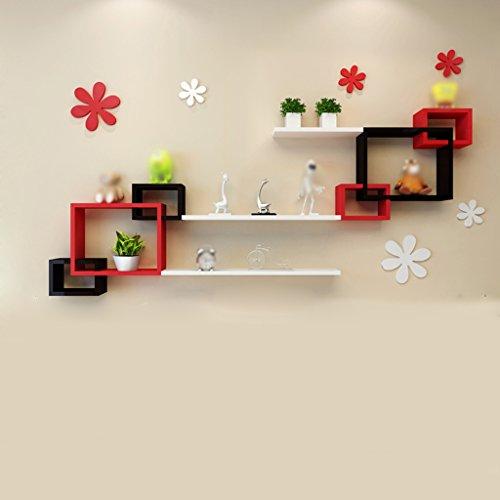 Étagères en boîte rouge et noire Salle de séjour Décoration murale Cloisons murales