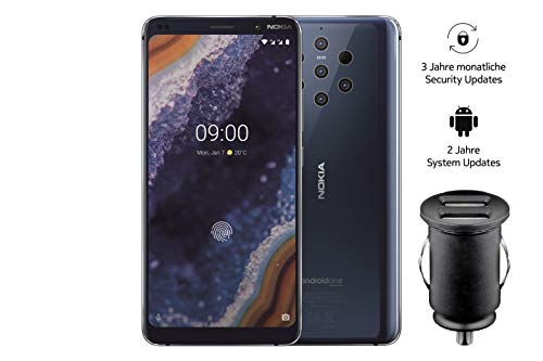 Nokia 9 PureView Dual SIM Smartphone - deutsche Ware (15,21 cm (5,99 Zoll) QHD + pOLED Display, 128 GB ROM, 6 GB RAM, Android 9 Pie) blau, Exklusive Amazon Edition inkl. 12 V KFZ Adapter