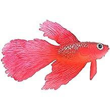 UEETEK Artificial de silicona suave brillante efecto Betta acuario Decor (rojo)