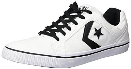 Converse Men's El Distrito Canvas Low Top Sneaker, Black/White, 11 M US -