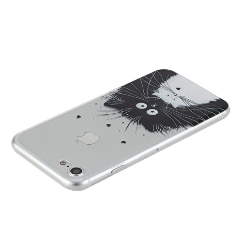 Per Apple iPhone 7 4,7 pollici,Sunrive® Custodia Cover Case in molle Trasparente Ultra Sottile TPU silicone Morbida Flessibile Pelle Antigraffio protettiva(tpu Foce) tpu Nero gatto bianco