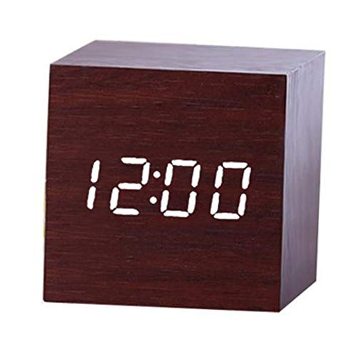 bqlove Holz Wecker, USB Digital Retro Wecker Cube Holz LED Desktop Tisch Home Decor Stimme Sound Control Wecker