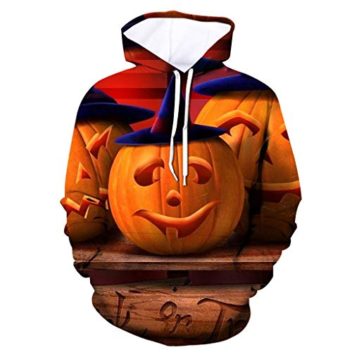 Hoodies für Frauen, Evansamp Mens beängstigend Halloween 3D Print mit Kapuze Langarm Hoodie Sweatshirt (Yellow1, XL)