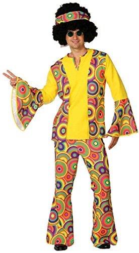 Fancy Me Herren 1960s Jahre 1970s Bunt sechziger 60s Jahre 70s Jahre Leuchtend Hippie Frieden Love Woodstock Karneval Spaß Kostüm Kleid Outfit - Multi, X-Large (EU 56/58)