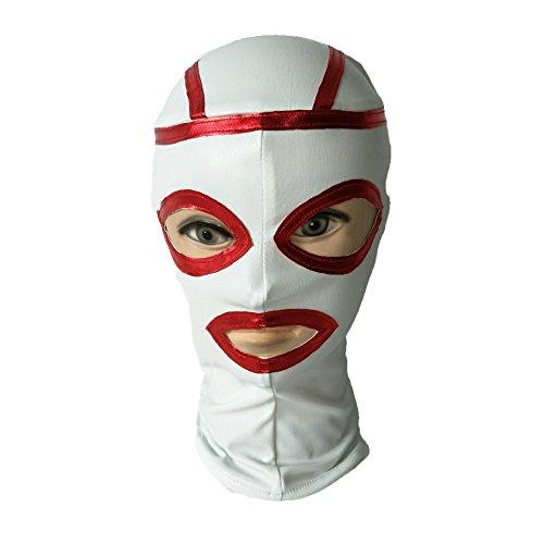 Raycity Bondage Fetisch Hood Sexspielhauben Sklavenmaske Halloween Party Kostüm-Weiß 50