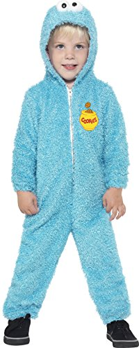 ex Krümelmonster Kostüm, All-in-One mit Kapuze, Sesamstraße, Größe: T2 (Kleinkind Medium), 37994 (Sesame Street-cookie Monster-kostüm)