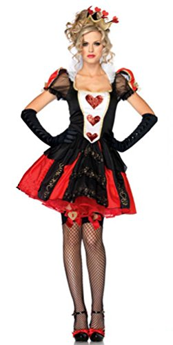 Halloween Kostüm Herzen Königin Der - I-CURVES Damen Königin der Herzen 3-teiliges Kostüm Kostüm mit Handschuhen und Krone.Größe M (34-36)