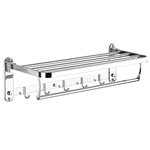 SUS304 Edelstahl Handtuch Rack mit Doppel-Handtuchstange für Badezimmer Organizer Storage Regalen Halter zur Wandmontage, 60 cm (Storage-handtücher Badezimmer)