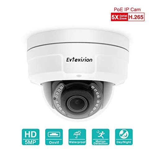 Evtevision H.265 PoE Überwachungskamera 5MP 2592x1944P,5X Zoom 2.7mm-13.5 mm Objektiv, Onvif, P2P Fernzugriff, Bewegungsalarm, vandalensichere Dome Heimüberwachungs-Netzwerkkamera