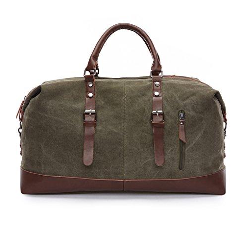 WOMJIA Reisetsache Sporttasche Weekender Tasche Handgepäck aus Canvas Segeltuch Vintage 35 Liter Armee-Grün
