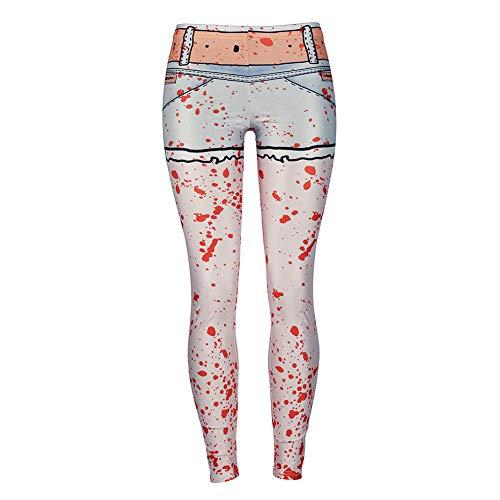 Haodasi Damen Hohe Taille Halloween Drucken Leggings - Dehnbar Enge Hosen Strumpfhose für Laufen Pilates Turnhalle Fitness