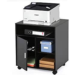 FITUEYES Support avec roulettes pour Imprimante avec Etagères Tiroir pour Ranger Les Affaires de Bureau à Multi-Fonction PS406001WB