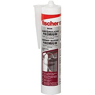 fischer DSSA FUG - Premium Sanitärsilicon für Eck-, Bewegungs- und Anschlussfugen im Sanitär- und Küchenbereich, dauerelastisch, fugengrau, 310 ml - 1 Stück - Art.-Nr. 512208