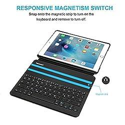 TeckNet Bluetooth Folio Keyboard Case für iPad Air 2/ iPad Pro 9.7 Only - X368: Verwandeln Sie ihr iPad Air 2 / iPad Pro(9.7) mit dem TeckNet Ultimate Keyboard Case in ein Laptop. Die gut platzierten Tasten bieten die Bewegung und die Reaktion einer ...
