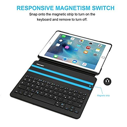 TeckNet Bluetooth Tastatur für Apple iPad Air 2 Smart Case Hülle (Auto-Wake / Sleep-Funktion, 6 Monate Akkulaufzeit)