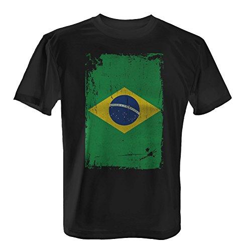 Brasilien Flagge längs - Herren T-Shirt von Fashionalarm | Fun Shirt Fahne Banner Vintage Grunge Freizeit Fussball Fan Schwarz