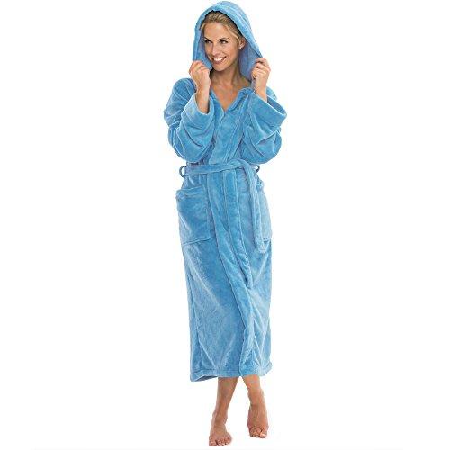 aqua-textil Bademantel mit Kapuze Damen Herren Morgenmantel weich und super flauschig, Coral Fleece Saunamantel lang, 1000442 Malibu XL hell-blau