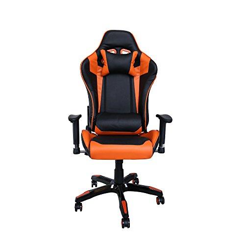 huigou HG Silla Giratoria De Oficina Gaming Chair Apoyabrazos Acolchados Silla Racing (Negro/Naranja)
