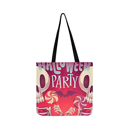 Squelettes Halloween Affiche Carte Toile Sac À Main Sac À Bandoulière Sac À Bandoulière Sacs À Bandoulière Sacs À Main Pour Hommes Et Femmes Shopping Tote