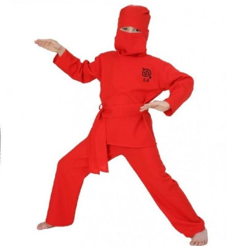 Ninja Gürtel (Fasching Karneval Kinder- Kostüm Ninja Rot, Hose Oberteil Haube Gürtel: Größe:)