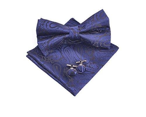 MASSI MORINO Paisley Fliegen Set - mit Fliege, Einstecktuch, Manschettenknöpfe inkl. Geschenkbox, Herrenfliege in verschiedenen Farben (Dunkelblau)