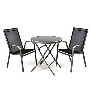 Nexos Bistroset Balkonset - Gartengarnitur Sitzgarnitur aus Glastisch & Stapelstuhl - Stahlgestell Kunststoff Glasplatte - robust stapelbar - schwarz grau