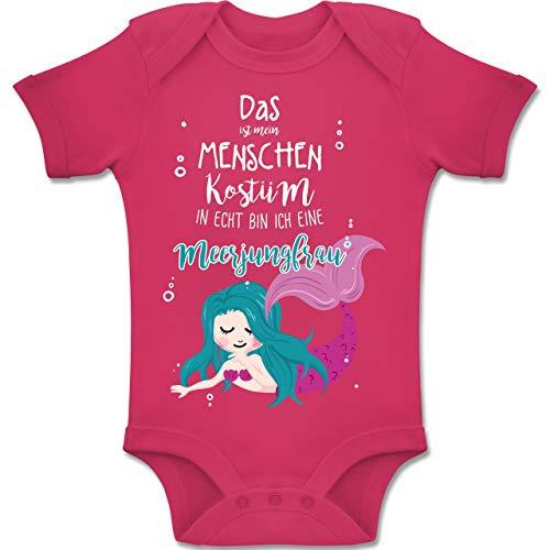 Shirtracer Karneval und Fasching Baby - Das ist Mein Menschen Kostüm in echt Bin ich eine Meerjungfrau - 3-6 Monate - Fuchsia - BZ10 - Baby Body Kurzarm Jungen Mädchen (Baby Opa Kostüm)