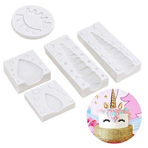 Einhorn Kuchen Topper Dekorieren Silikon Form Set mit Horn, Ohren und Augen für Geburtstag, Baby Dusche, Hochzeit und Party (5PCS/SET)