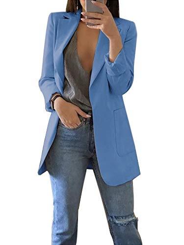Minetom Donna Aperto Davanti Colletto Cappotto Elegante Ufficio Business Blazer Top Gilet Corto OL Giacca da Abito Cardigan A Blu IT 40