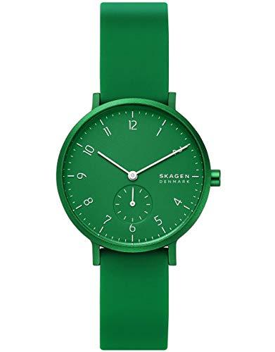 Skagen - Montre Aaren Kulor pour Femme avec Bracelet en Silicone Vert, 36 mm - SKW2804