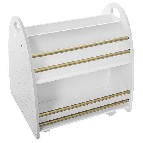 Atmosphera - Niedriges Bücherregal fürs Kinderzimmer, Rollen, beidseitig (Weiß/Gold)