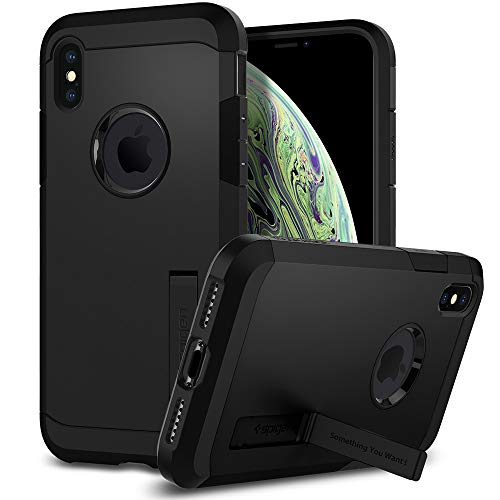Spigen tough armor cover iphone xs, cover iphone x cavalletto ed extreme heavy duty protezione per apple iphone xs/iphone x - nero