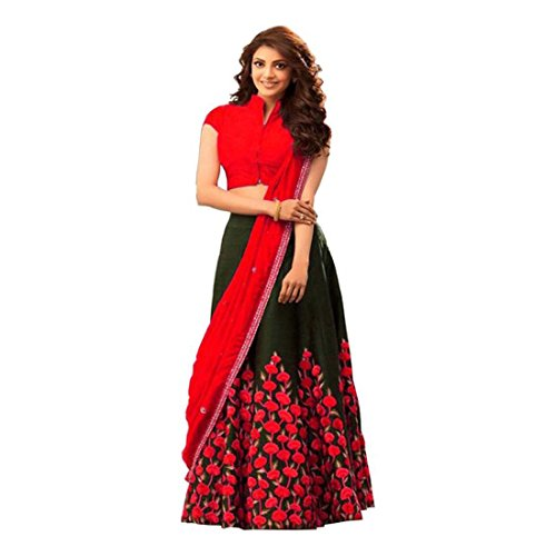 Indian Handicrfats Export Embroidered Lehenga, Choli and Dupatta Set (Red) (Puff Sleeve Cotton Blend)