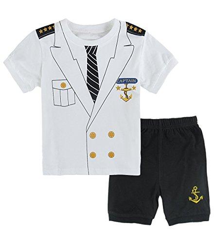 Mombebe Pyjamas Jungen Kurz Kapitän Kinder Schlafanzug Sommer Nachtwäsche (3 Jahre, Kapitän)